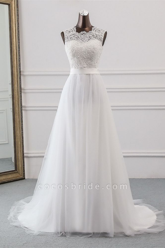 Elegant Long A-line Jewel Tulle Wedding Dress with Appliques Lace