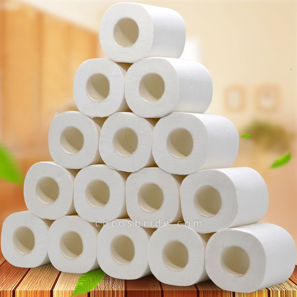 10 Roll 4ply White Toilet Paper Native Wood Pulp Tissue Hollow Replacement Roll Paper