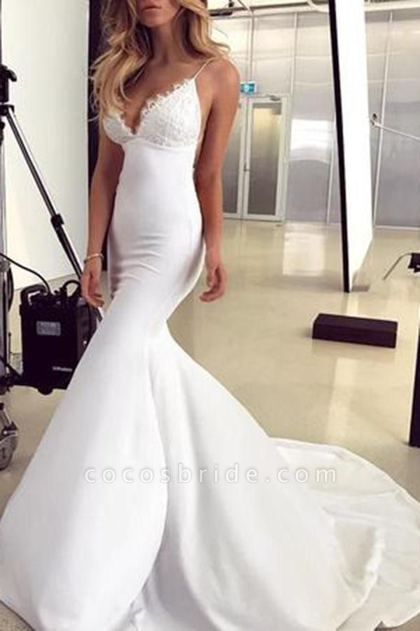 Spaghetti Straps Mermaid Lace Appliques Sexy Backless Wedding Dress