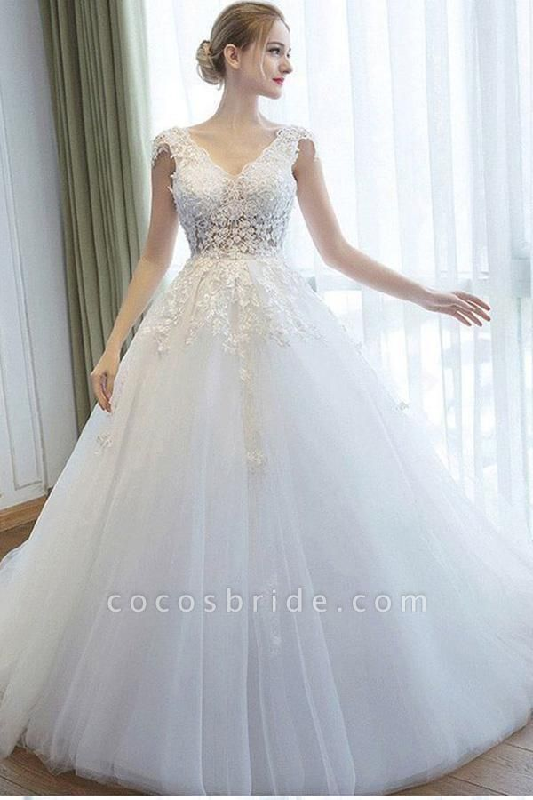 Ball Gown V Neck Tulle Court Train Appliques Lace Backless Wedding Dress