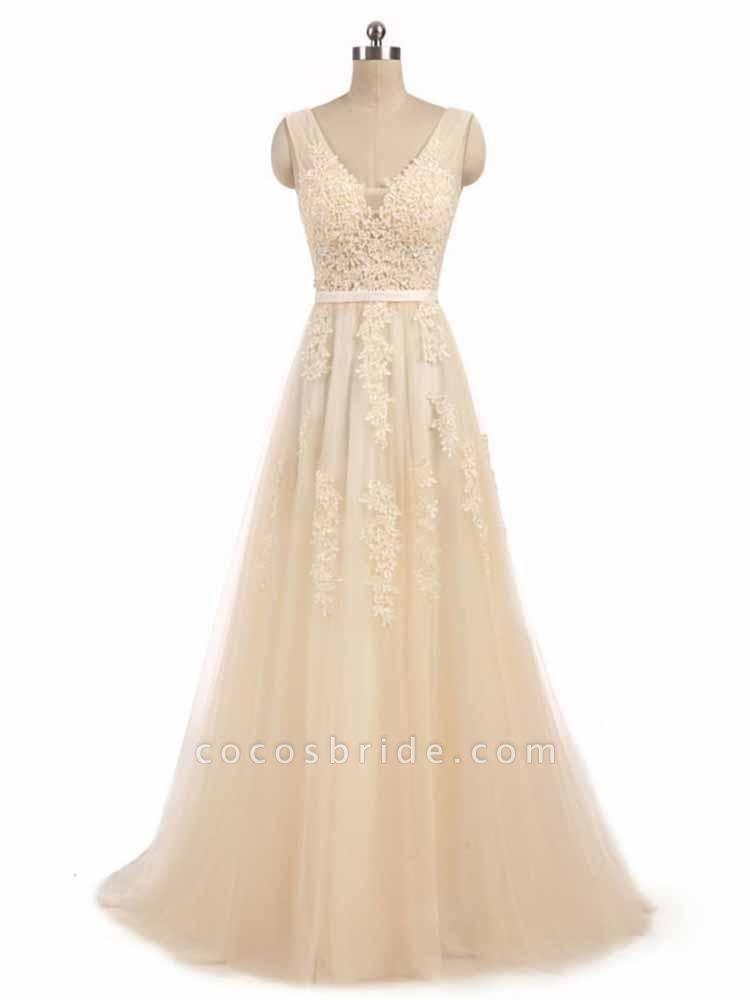 Glamorous V-Neck Lace Ribbon A-line Wedding Dresses