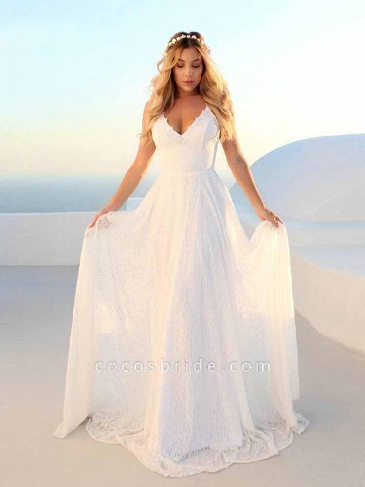Glamorous V-Neck Backless Lace A-Line Wedding Dresses