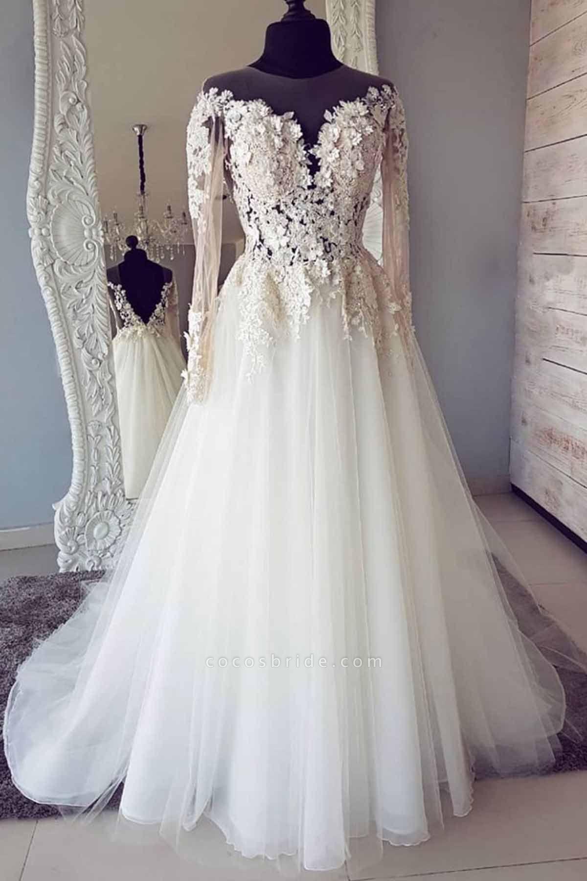 White Tulle Lace Long Round Neck Customize Wedding Dress