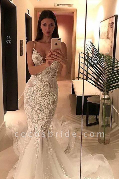 Spaghetti Straps Mermaid Appliqued V-neck Tulle Wedding Dress