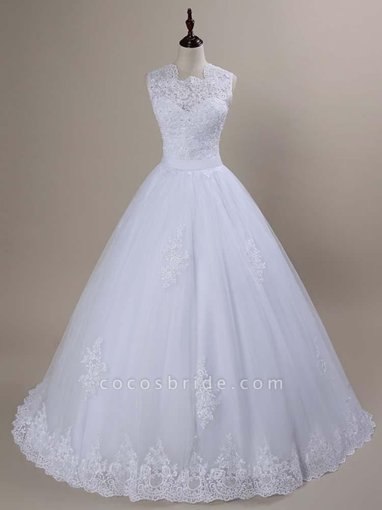 Modest Lace Covered Button Ball Gown Wedding Dresses