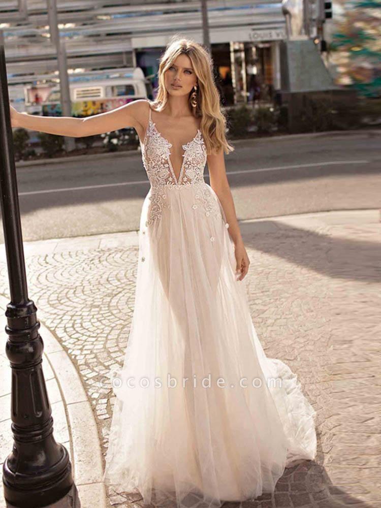Elegant Spaghetti Strap Appliques Tulle Wedding Dresses