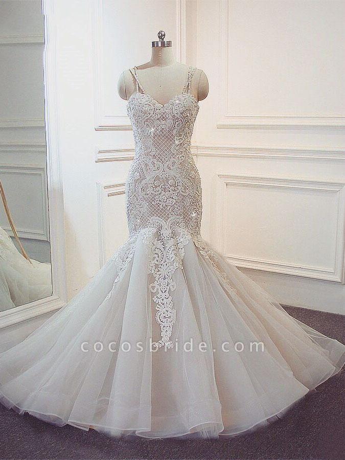 Stunning Spaghetti Strap Lace-Up Mermaid Wedding Dresses
