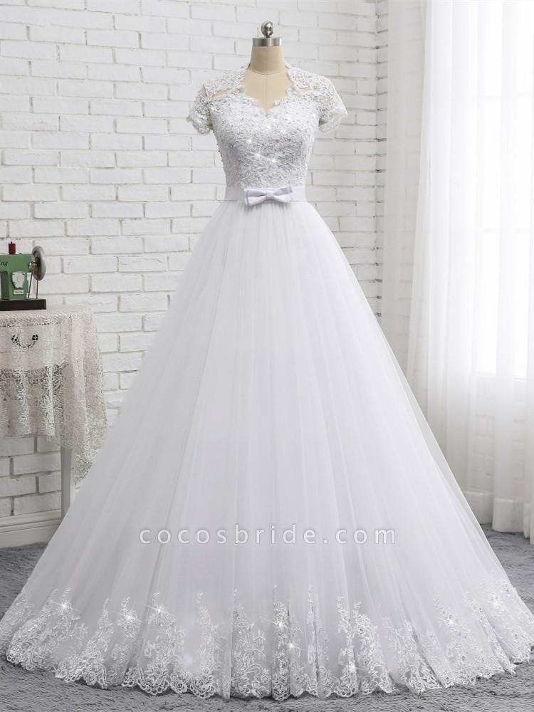 Elegant Short Sleeves Lace Beaded Tulle Wedding Dresses