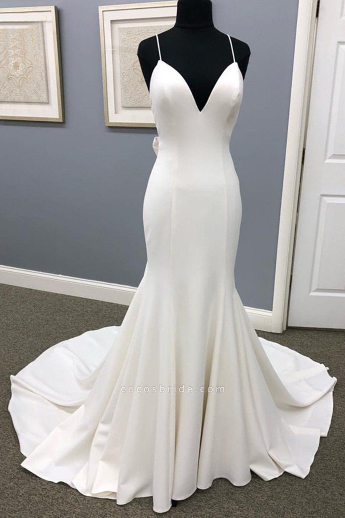 Ivory Satin Spaghetti Straps Open Back Sweet Train Wedding Dress