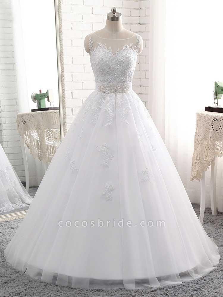 Elegant Lace-Up Ball Gown Wedding Dresses