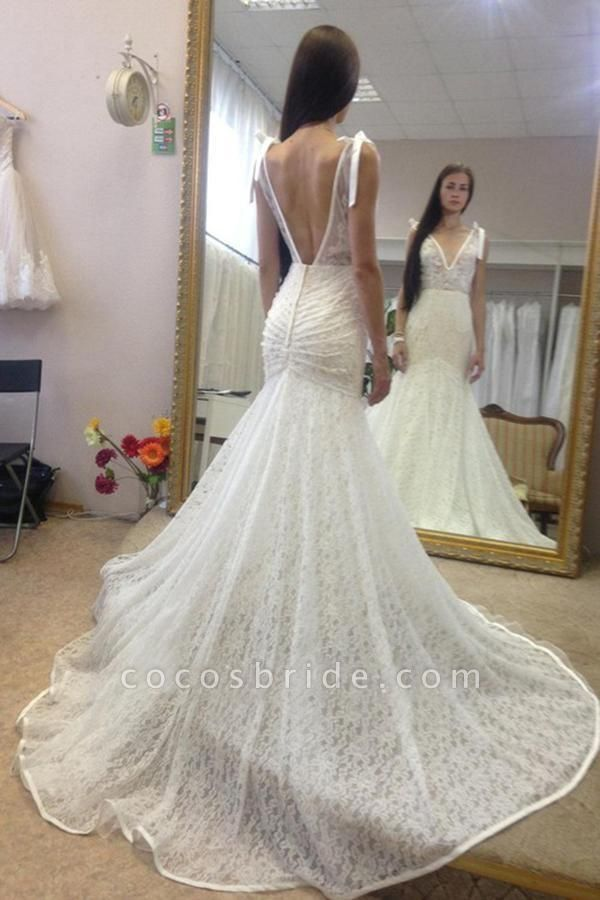 Neck Sleeveless Mermaid Gown With Deep V Back Long Lace Wedding Dress