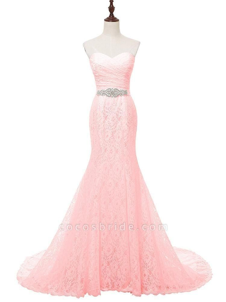 White Sweetheart Lace Mermaid Sash Wedding Dresses