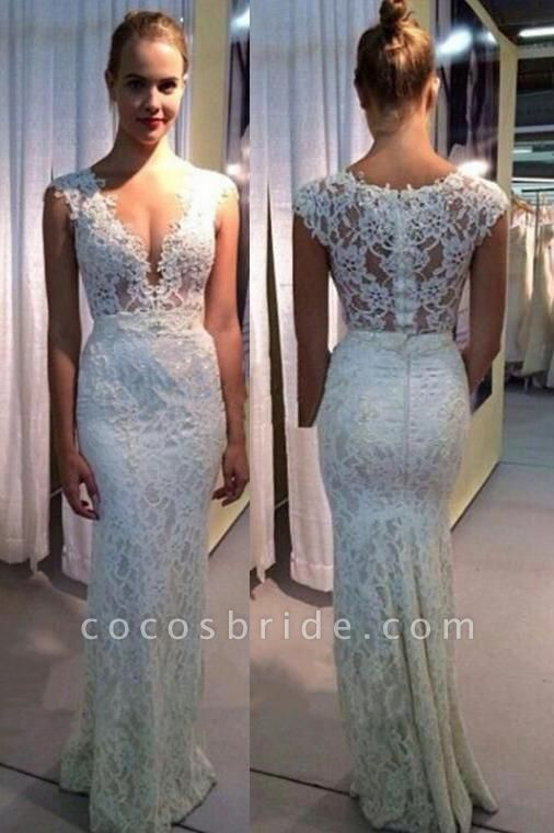 V-neck Mermaid Lace Sleeveless Gown Ivory Sexy Beach Wedding Dress