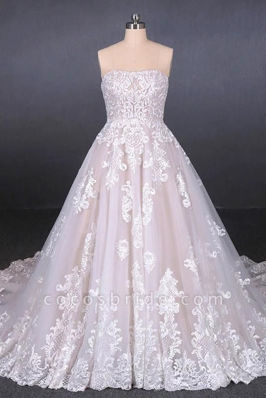 Puffy Strapless Tulle with Appliques Long Train Lace Up Wedding Dress