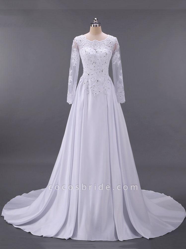 Long Sleeves Beaded Zipper Sweep Train Wedding Dresses