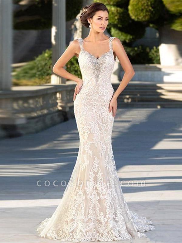 Gorgeous Backless Lace Appliques Mermaid Wedding Dresses