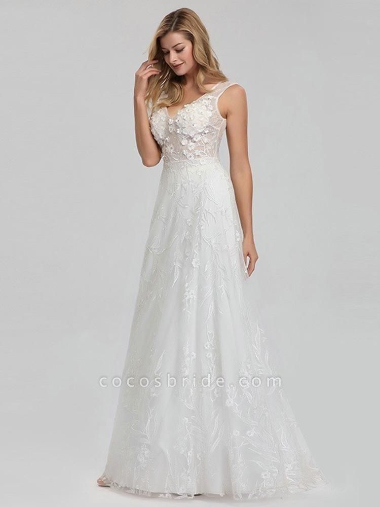 Elegant V-Neck Lace Wedding Dresses