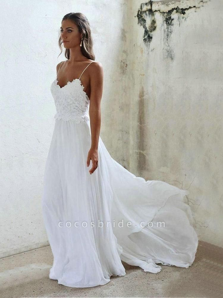 Elegant Spaghetti-Strap Appliques Chiffon Wedding Dresses
