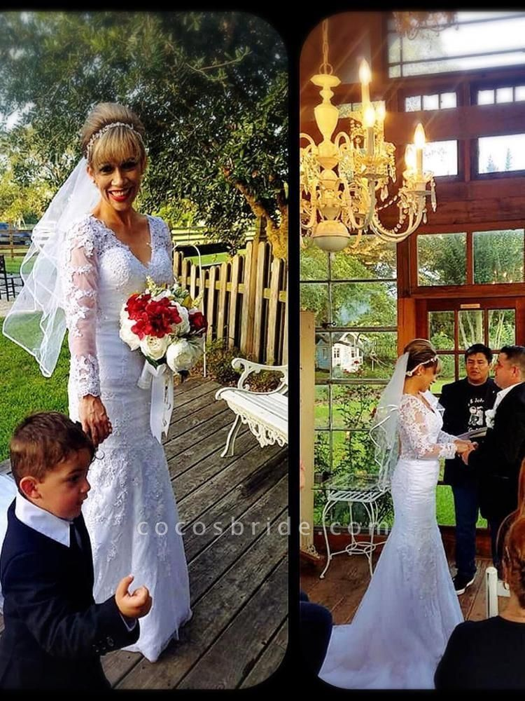 Sheer O-Neck Long Sleeve Lace Mermaid Wedding Dresses