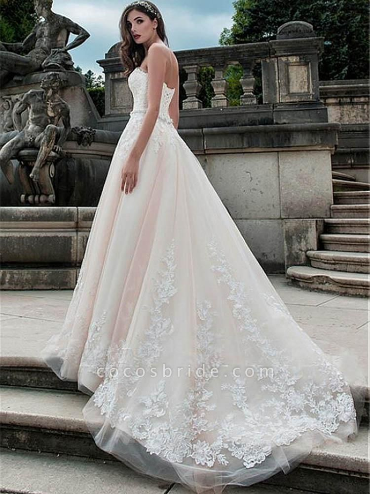 Glamorous Sweetheart Tulle A-Line Lace Wedding Dresses
