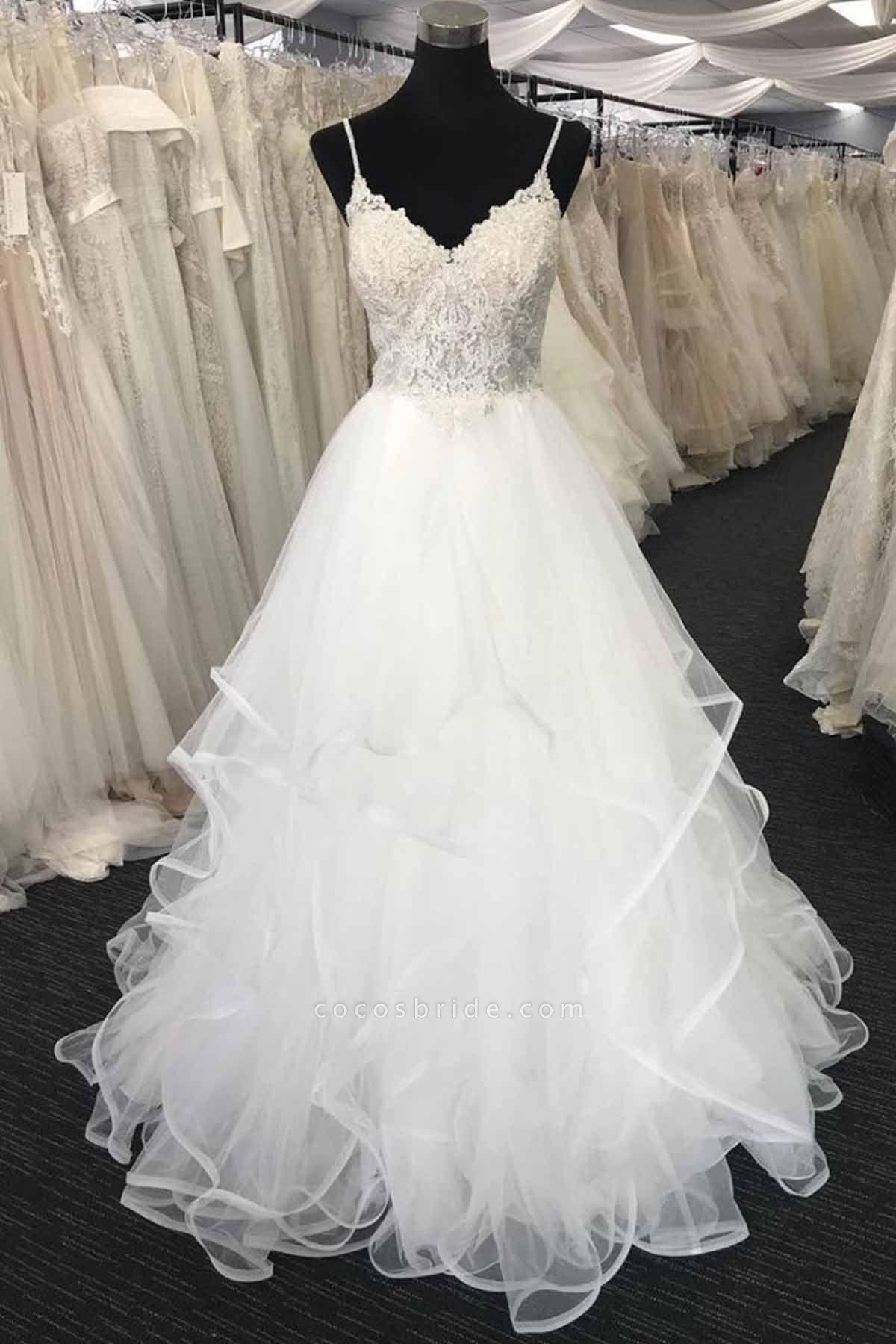 Sweetheart Neck Long Spaghetti Straps White Lace Wedding Dress