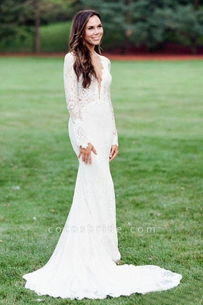 Elegant Mermaid Backless Long Sleeve Lace Wedding Dress