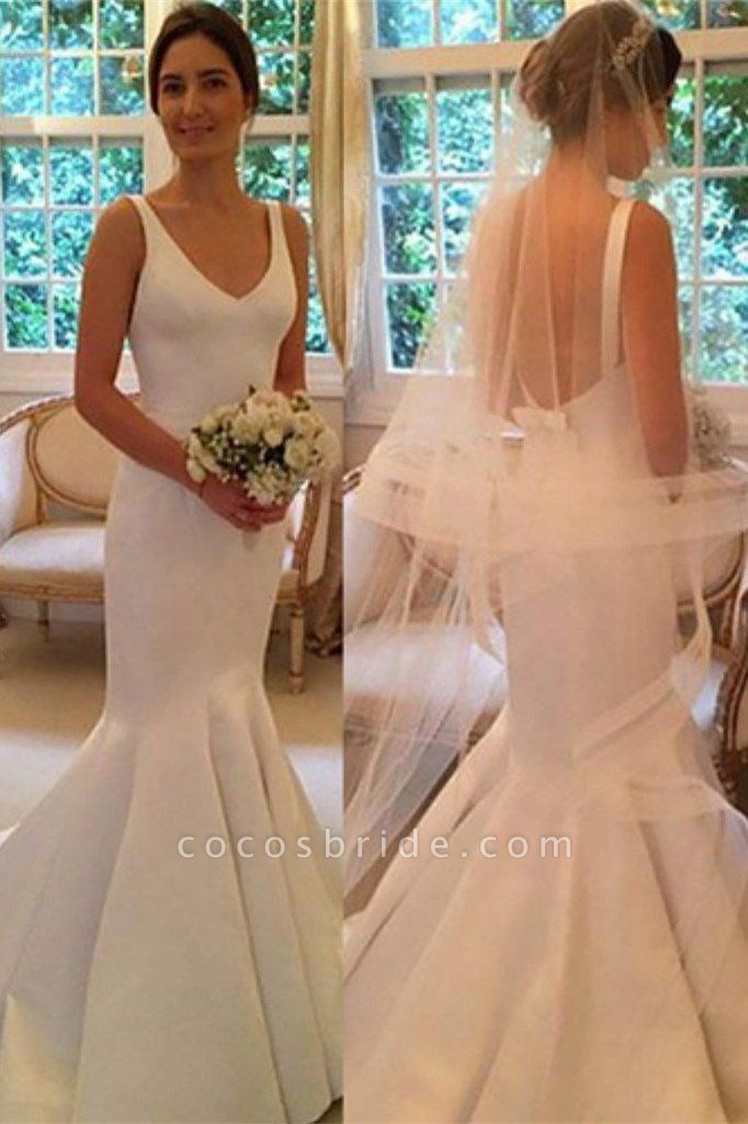 Newest Mermaid V-neck Sleeveless Simple Backless Wedding Dress