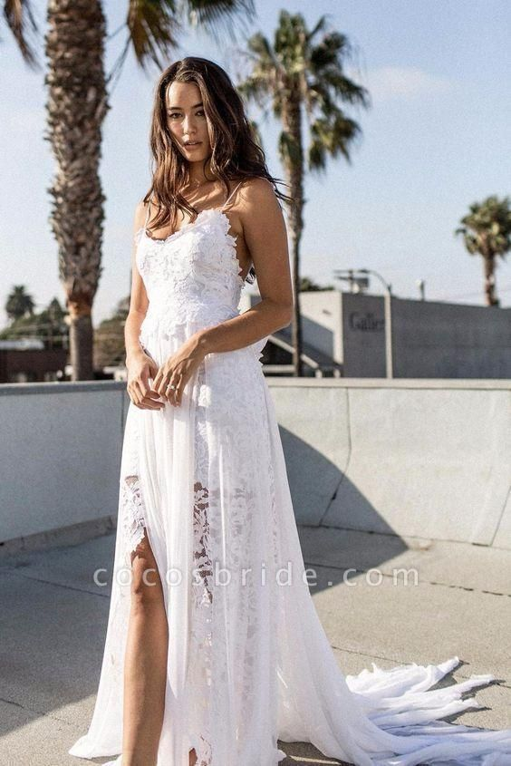 Bohemian Cheap Spaghetti Straps Long Beach Wedding Dress