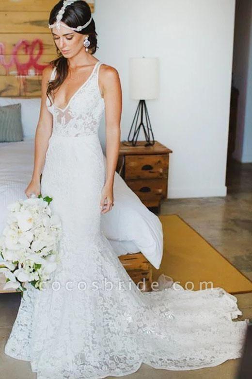 Romantic Deep V Neck Sleeveless Lace Mermaid Wedding Dress