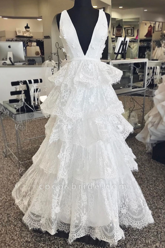 White Lace Long A Line Wedding Dress