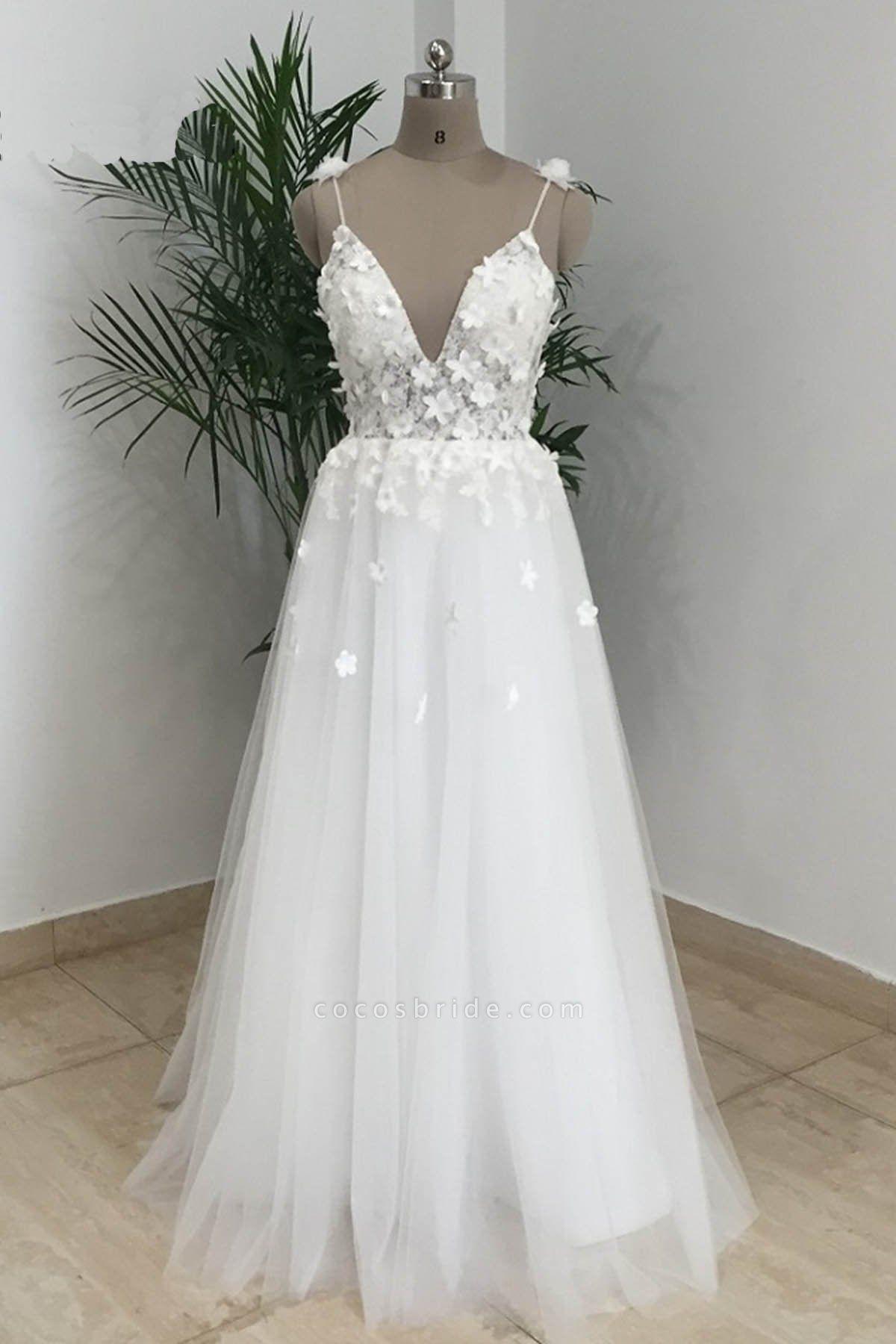 Simple White Tulle V Neck Beach Wedding Dress