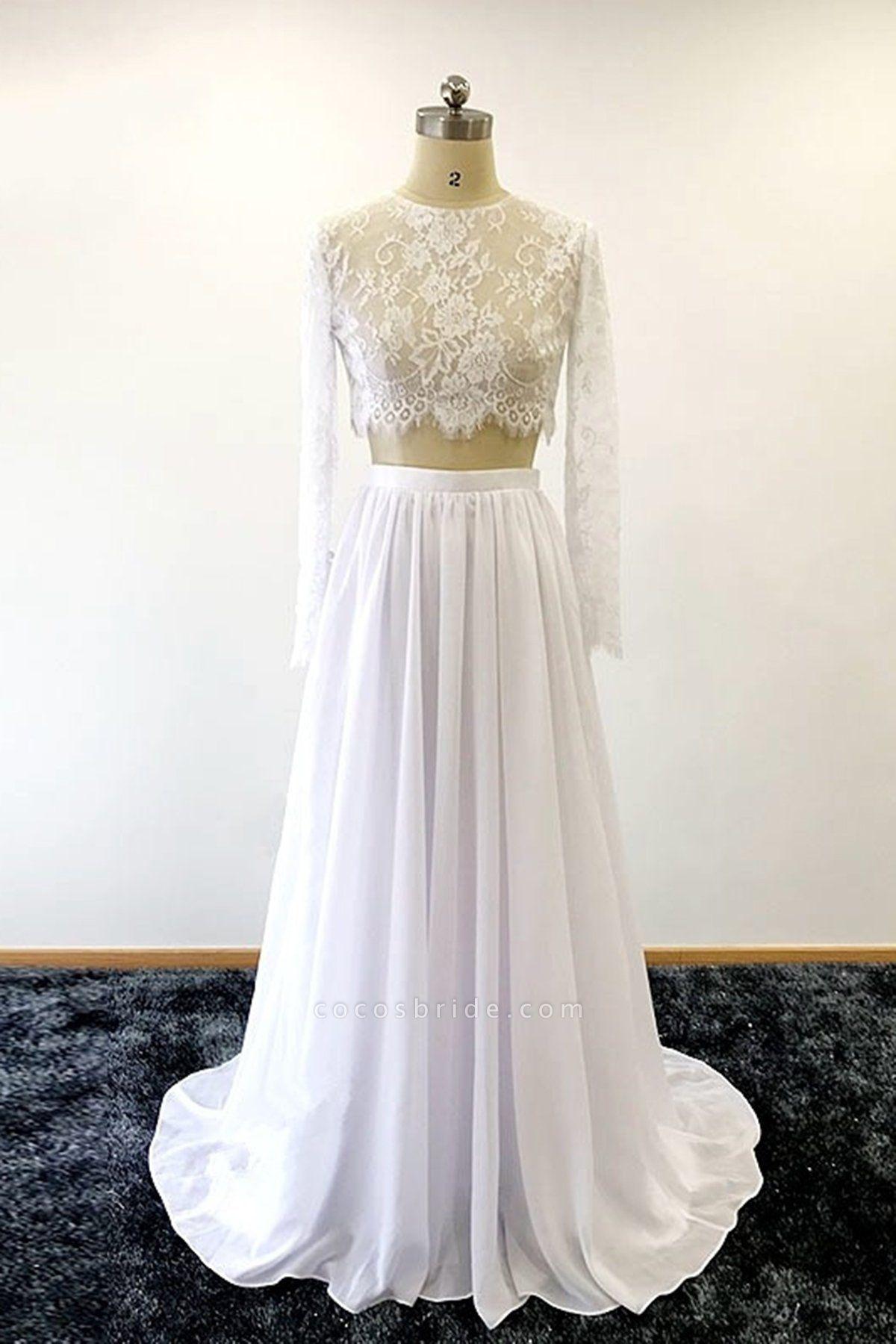 White Lace Two Pieces Long Chiffon Wedding Dresses