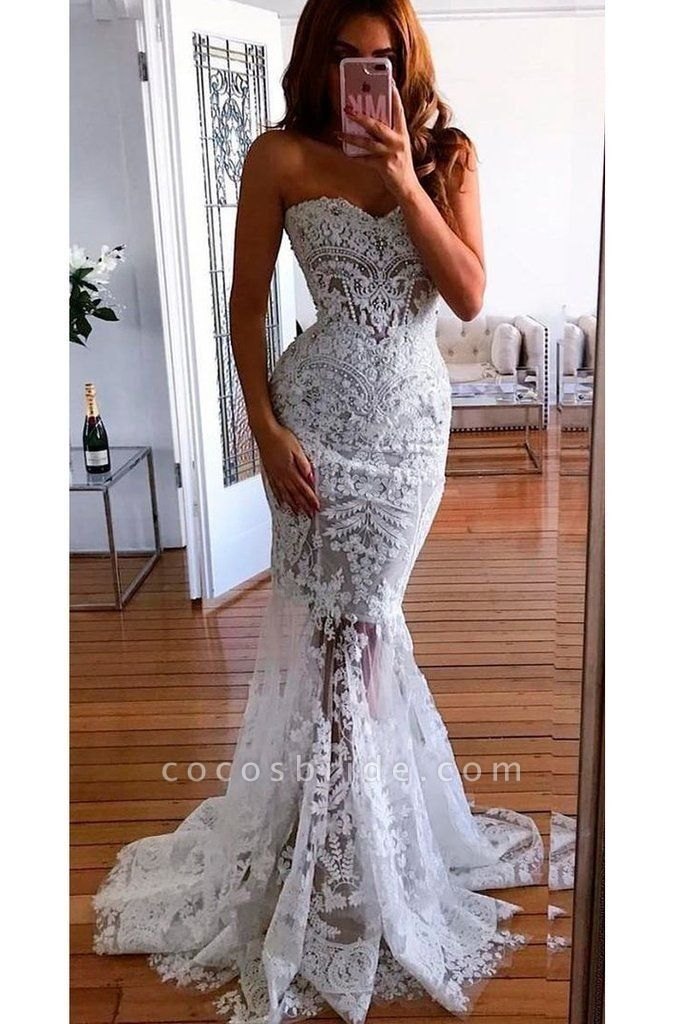 Mermaid Sweetheart Long Lace Appliques Sexy Wedding Dress