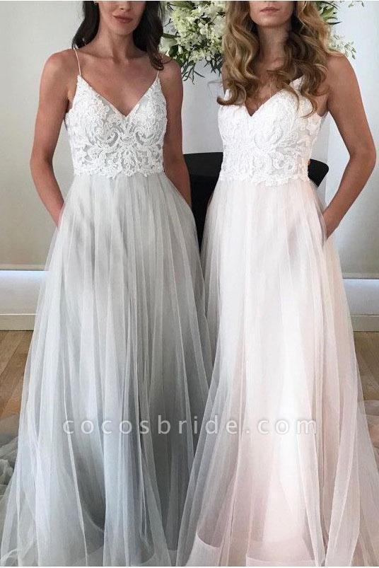 Spaghetti Strap Beach V Neck Tulle Long Wedding Dress