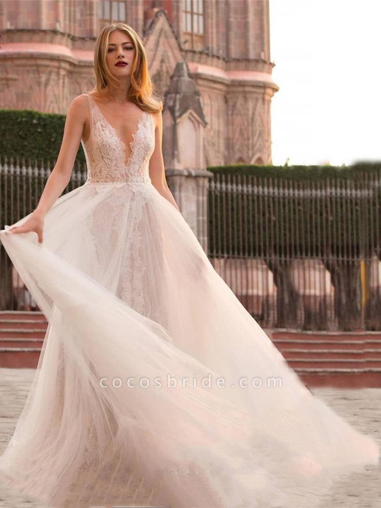 V Neck Sleeveless Covered Button A Line Wedding Dresses