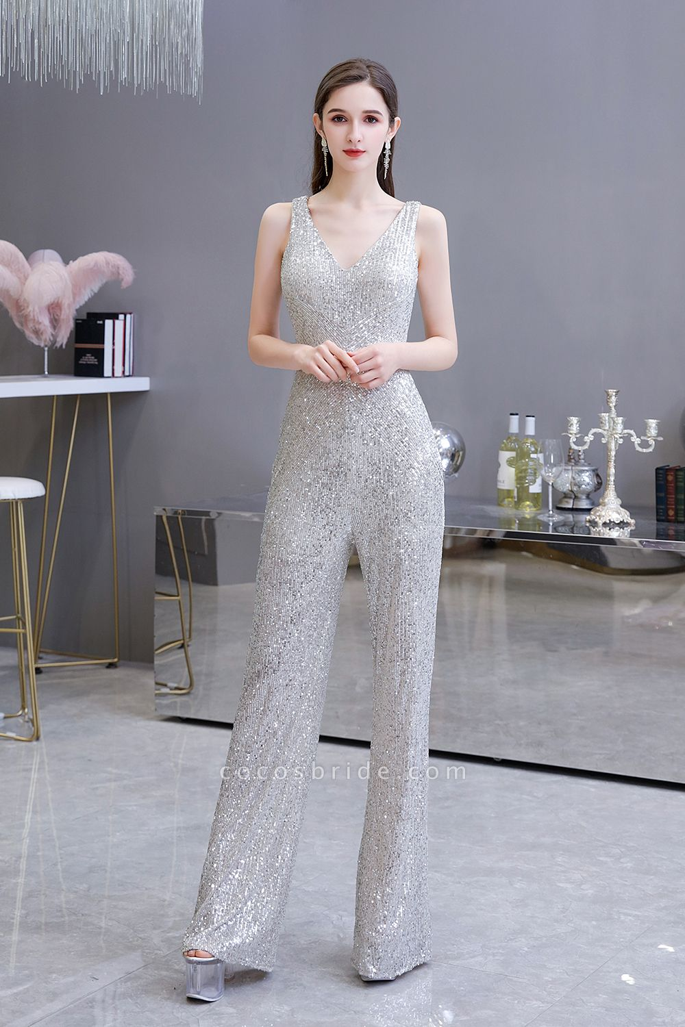Sexy Shining V-neck Sleeveless Prom Jumpsuit with Silver Sequins