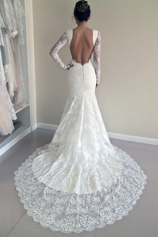 Long Sleeves Open Back Lace with Train Mermaid Beach Wedding Dress