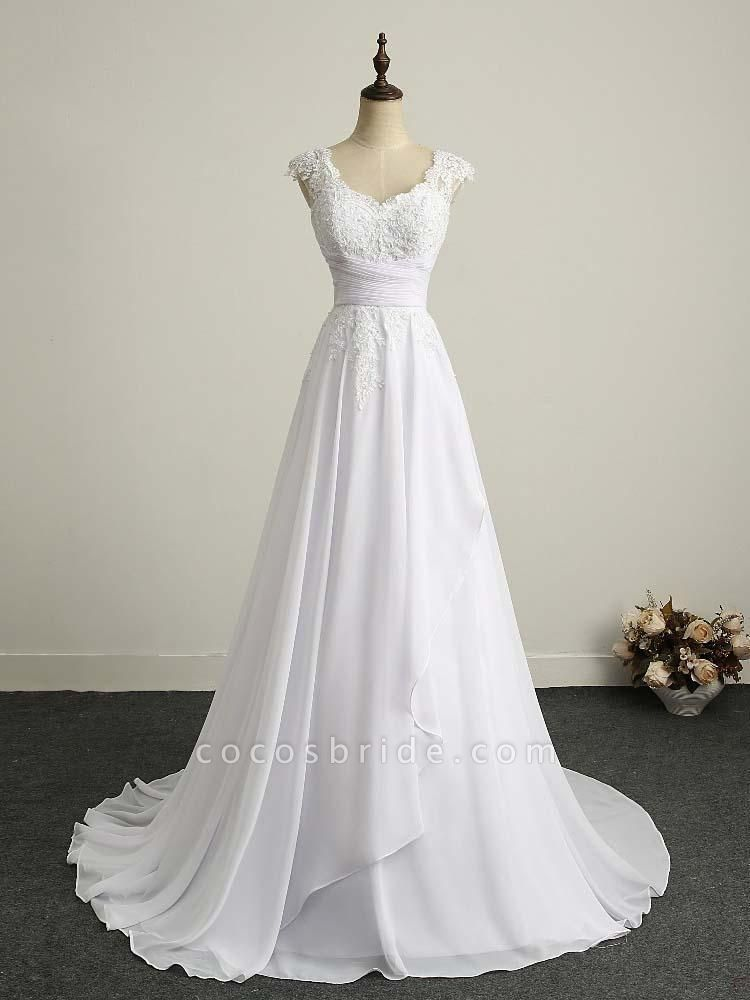 Appliques V-Neck Lace-Up Chiffon Wedding Dresses