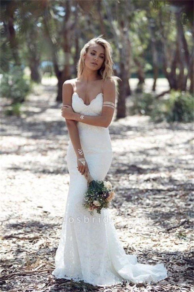 Spaghetti Strap Lace Beach Backless V Neck Sweep Train Long Wedding Dress