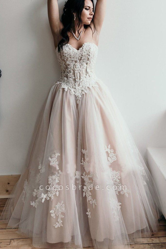 Floor Length Sweetheart Tulle Wedding with Lace Appliques Long Dress