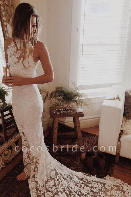 Awesome Lace Open Back Beach Mermaid Wedding Dress
