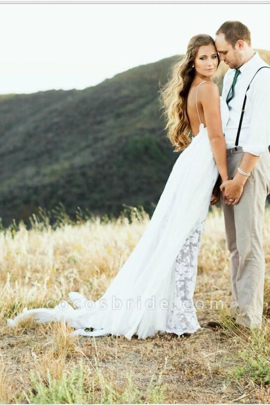 Sexy Backless Beach Spaghetti Summer Wedding Dress