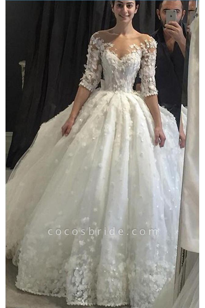 Vintage Appliqued Half Sleeve Flowers Ball Gown Luxury Tulle Wedding Dress