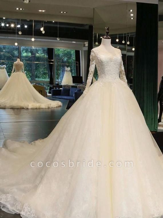 Cathedral Train Appliques Long Sleeve A-line Wedding Dresses