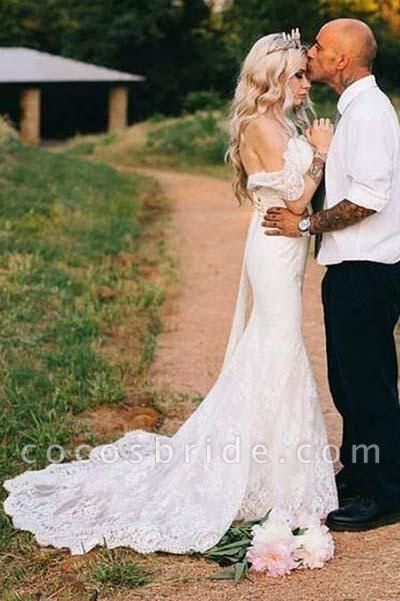 Mermaid Off-the-shoulder Trumpet Tulle Appliques Lace Beach Wedding Dress