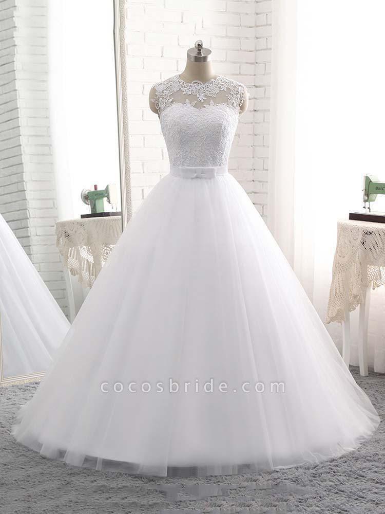 Elegant V-Neck Ball Gown Tulle Wedding Dresses