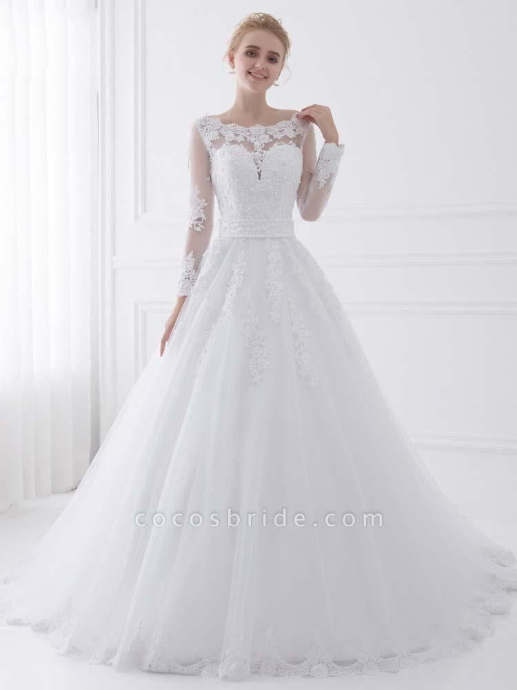 Long Sleeves Lace Ribbon Ball Gown Wedding Dresses