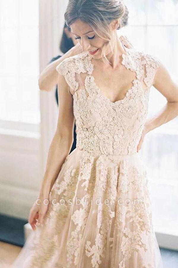 Elegant V-neck Sleeveless Cap Sleeves Floor-Length Wedding Dress