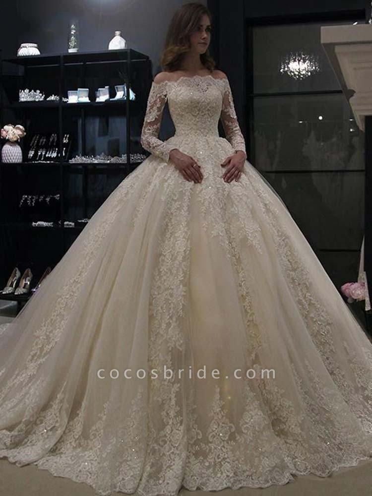 Gorgeous Long Sleeves Lace Ball Gown Wedding Dresses