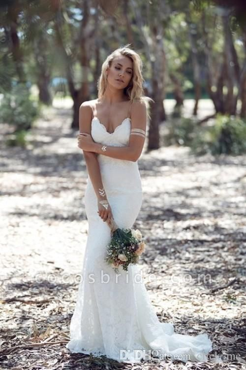 Backless Mermaid Spaghetti Strap Full Lace Wedding Dresses